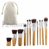11Pcs Bamboo Handle Cosmetic Makeup Brush Set Foundation Blush Soft Brushes Kit