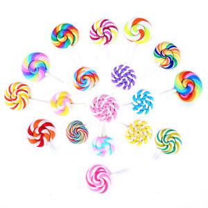 10 pcs DIY Polymer Clay Lollipop Craft 2-4cm Cabochons Flatbacks Accessories