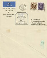 US 1939 FIRST FLIGHT PAN AM  NEWPORT ENGLAND TO NEW YORK FLOWN COVER