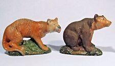 VINTAGE ALMAR METAL ARTS PAINTED METAL TIGER AND BEAR ANIMAL FIGURINES 1930s-40s