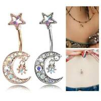 Sexy Moon Star Surgical Steel Belly Button Ring Navel Ring Body Piercing Jewelry