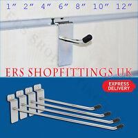 """Slatwall Hook Pin Arm Shop Display Fitting Prong Hang 2"""" 4"""" 6"""" 8"""" 10"""" 12"""""""