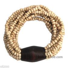 New Antique White 10-Strand Glass Beaded Stretchable Bali Bracelet w/ Wood Bead
