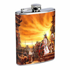 Aztec D4 Flask 8oz Stainless Steel People Culture Empire Arts Statues Mexico