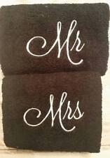 Mr and Mrs Hand Towel Set, Wedding Towel Set, His and Hers Towel Set ( Black)