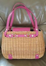 """Kate Spade SNAKE CHARMER BASKET """"CHERRY VALLEY"""" PINK LEATHER STRAW BAG *RARE*"""