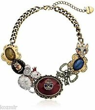 BETSEY JOHNSON WOODLAND CRITTER NECKLACE Large Statement Mouse Owl Fox Steampunk