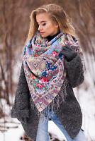Authentic Large Russian Pavlovo Posad Scarf Shawl Stole 100% Wool 125x125cm