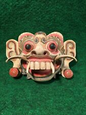 Vintage Carved Wooden Bali Serpent Mask Indonesia Fanged Garuda Wall Hanging #D