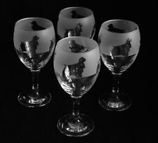 More details for american cocker spaniels dog wine glasses set of 4. boxed