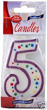 Betty Crocker #5 Purple  Polka Dot Fifth Birthday Party Candle (Number Five)