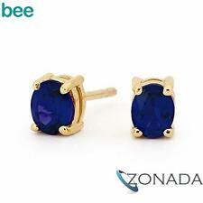 OVAL Sapphire 9ct 9k Solid Yellow Gold Stud Earrings 51415/SLG