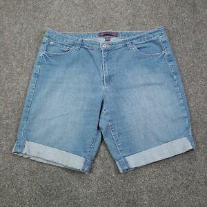 Gloria Vanderbilt Blue Denim Women Plus Size 18W Cuffed High Rise Bermuda Shorts
