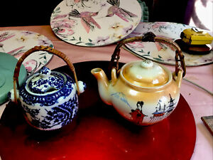 Two Oriental Pieces One Tea Pot &one Pot With Lid