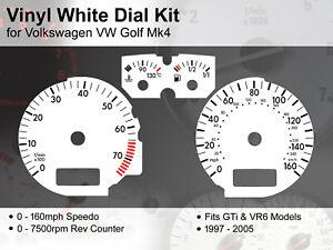 Volkswagen VW Golf Mk4 (1997 - 2005) - 160mph VR6 / GTi - Vinyl White Dial Kit