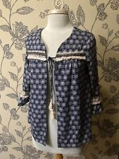 Xhilaration 3/4 Flare Sleeve Tie Front Jacket Boho Fringe Blue Print Sz S