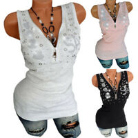 Womens Zipper V Neck Tank Top Rhinestone Slim Fit Vest Casual T Shirt Blouse Top