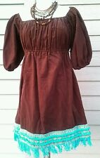 mamama's. Sewing/handmade casual Brown solid empire waist cowgirl dress, S/M