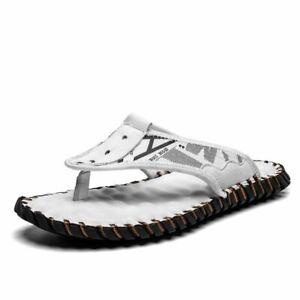 Sandalias Para Hombre de Cuero Chancletas de Casuales Elegantes de Moda 2021
