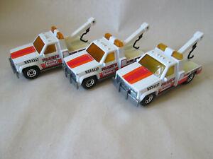 1987 Matchbox (3) GMC Wrecker Tow Trucks MB-21 (Frank's Getty 1:72)