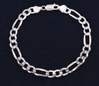 7mm Italian Figaro Link Chain Bracelet Real Sterling Silver 925 ALL SIZES