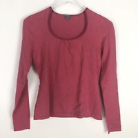 Ann Taylor Womens Pink Long Sleeve Rayon Scoop Neck Top Size S