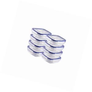 Grizzly Frischhaltedosen Set Quadratisch flach 8 x 350 ml Vorratsdosen mit Decke