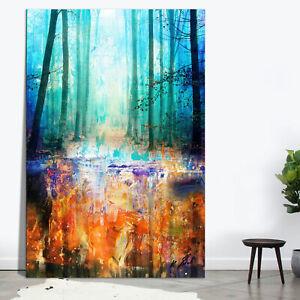 Bunt Farbe Wald Bäume Bild Leinwand Abstrakte Kunst Bilder Wandbilder D2172