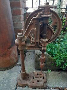 Antique Vintage Bench Mounted Hand Cranked PILLAR DRILL for Restoration