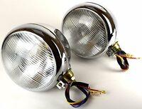 2x Scheinwerfer Chrom mit Standlicht Traktor Bagger Schlepper Oldtimer Lampe 12V