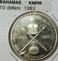 1983 Bahamas $10 Gem Proof Silver 30th Anniversary Coronation Queen Coin