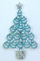 Vintage Christmas Tree Pin Brooch BEATRIX Blue Enamel & Rhinestones Signed BJ