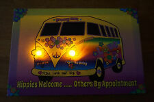 New listing Hippies Welcome Peace Love Flower Child Van Bus 60's Style Home Decor Sign New
