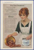 Vintage 1918 CRISCO Baking Doughnuts Food Kitchen Art Decor Ephemera Print Ad