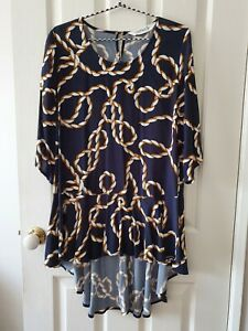 TS Virtuelle Navy and Orange Chain Tunic Blouse Size 12 XS