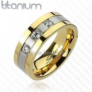 Men's Solid Titanium Gold IP Two-Tone Cubic Zirconia Comfort Fit Wedding Band