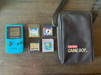 Nintendo Gameboy Color Bundle - Teal Blue With Carrying Case & Game Lot