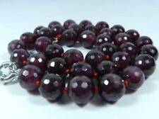 Natural 8mm Faceted Garnet Red Gemstone Round Beads Necklace 18""