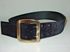 "Express black velvet belt large gold buckle stitching 2"" wide-XS-NEW $49.90"