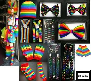 Men Women Rainbow Set Suspender Bow Tie Beanie Finger Gloves Sock Fashion LGBT