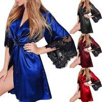 Women Satin Lace Lingerie Sleepwear Kimono Bath Robe Pyjama Gown Nightdress T99