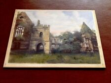 ANTIQUE LANDSCAPE OIL PAINTING ON GLASS PLATE c.1840s