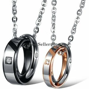 True Love Couple Promise Rings Stainless Steel Pendant Necklace Chain Lover Gift