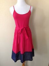 Pre-Owned French Connection Pink/Navy Cotton Fit and Flare Dress, Size 8