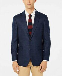 Tommy Hilfiger Trevor Men's Modern-Fit Check Patterned Blazer Blue/Burgundy-42R