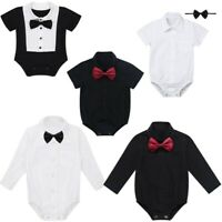 Infant Toddler Baby Boys Gentleman Bowtie Romper Formal Bodysuit Jumpsuit Outfit