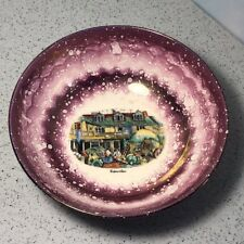GRAYS POTTERY TABARD INN BOWL STOKE ON TRENT ENGLAND UK PURPLE WHITE SHIP BOAT