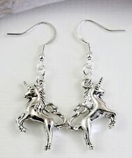 Cute Unicorn Charm Earrings - Dangle Drop Silver Tone Kitch Jewellery Mythical