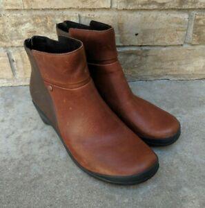 Merrell Veranda 2-tone Brown Leather Zip Up Ankle mid Boots Women's 9.5 EUC