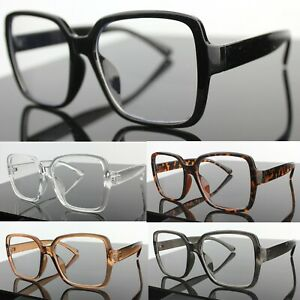 Large Oversized Chunky Square Clear Lens Fashion Glasses Womens Mens